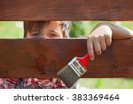 young boy painting the wooden... | Shutterstock . vector #383369464
