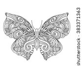 butterfly.hand drawn ethnic...   Shutterstock .eps vector #383371363
