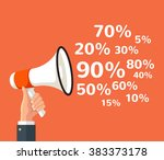 megaphone sign with sale text.... | Shutterstock .eps vector #383373178