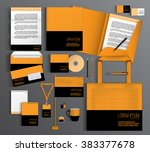 orange corporate identity... | Shutterstock .eps vector #383377678
