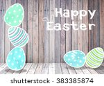 easter eggs colorful mint... | Shutterstock . vector #383385874