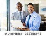 handsome workers standing... | Shutterstock . vector #383386948