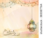 eid mubarak background arabic... | Shutterstock .eps vector #383387764