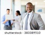 happy african corporate worker... | Shutterstock . vector #383389510
