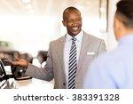 handsome african salesman... | Shutterstock . vector #383391328