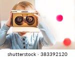 toddler girl using a new... | Shutterstock . vector #383392120