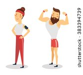 sport people  man and woman.... | Shutterstock .eps vector #383394739