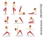 sportswoman doing exercises.... | Shutterstock .eps vector #383394760