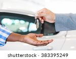 close up of car dealer handing... | Shutterstock . vector #383395249