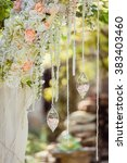 wedding arch decorated with... | Shutterstock . vector #383403460