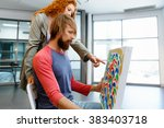 young caucasian couple standing ... | Shutterstock . vector #383403718