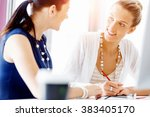 two female colleagues in office | Shutterstock . vector #383405170