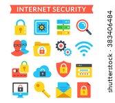 internet security icons set....