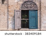 blue windows with the red brick ...   Shutterstock . vector #383409184