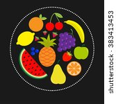 juicy ripe fruit and berry set... | Shutterstock .eps vector #383413453