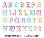 alphabet set 3d form hand drawn ... | Shutterstock .eps vector #383420584