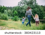 family having fun outdoors in... | Shutterstock . vector #383423113