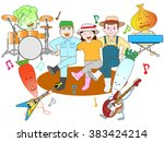 vegetables play music and are... | Shutterstock .eps vector #383424214