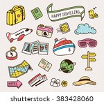 travel related object in cute... | Shutterstock .eps vector #383428060