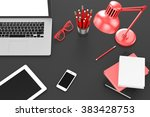 laptop and office stuff ... | Shutterstock . vector #383428753