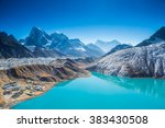 gokyo lake with snow capped... | Shutterstock . vector #383430508
