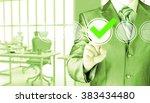 business man touching  pressing ... | Shutterstock . vector #383434480