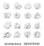 a large set of crumpled paper... | Shutterstock . vector #383435440