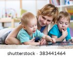 cute mother and her two sons... | Shutterstock . vector #383441464