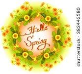 spring summer floral wreath ... | Shutterstock .eps vector #383442580