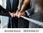 team pulling steel chain... | Shutterstock . vector #383444614
