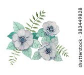 watercolor hand drawn flowers... | Shutterstock .eps vector #383449828