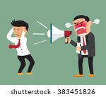 angry boss shouting at employee ... | Shutterstock .eps vector #383451826