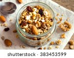 homemade granola with nuts and... | Shutterstock . vector #383453599