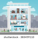 corporate building with room... | Shutterstock .eps vector #383459110