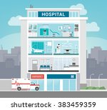 hospital building with... | Shutterstock .eps vector #383459359