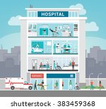hospital building and... | Shutterstock .eps vector #383459368