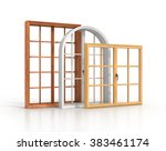 three wooden windows isolated...   Shutterstock . vector #383461174