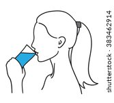 woman drinking a glass of water ... | Shutterstock .eps vector #383462914