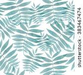 watercolor palm leafs pattern.... | Shutterstock . vector #383467474