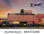 air plan and forklift handling ... | Shutterstock . vector #383473348