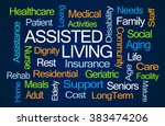 assisted living word cloud on... | Shutterstock . vector #383474206
