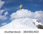 flying skier on mountains.... | Shutterstock . vector #383481403