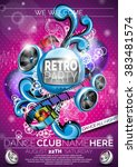 vector retro party flyer design ... | Shutterstock .eps vector #383481574