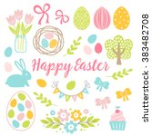 easter collection. tulips in... | Shutterstock .eps vector #383482708