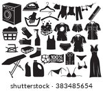 laundry and cleaning icons ... | Shutterstock .eps vector #383485654