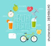 concept of healthy lifestyle... | Shutterstock .eps vector #383486140