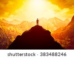 businessman in hat on the peak... | Shutterstock . vector #383488246