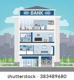 bank building interior with... | Shutterstock .eps vector #383489680