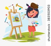 artist female or girl painting... | Shutterstock .eps vector #383503903