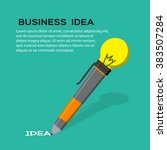 lightbulb with business icon... | Shutterstock .eps vector #383507284